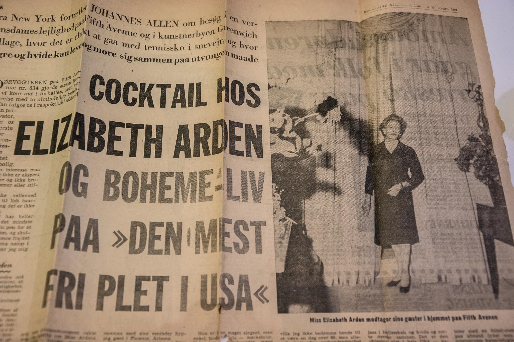 Tidningsurklipp om Elizabeth Arden